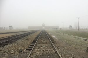 Entrance to the camp and exact location where prisoners were unloaded from train cars