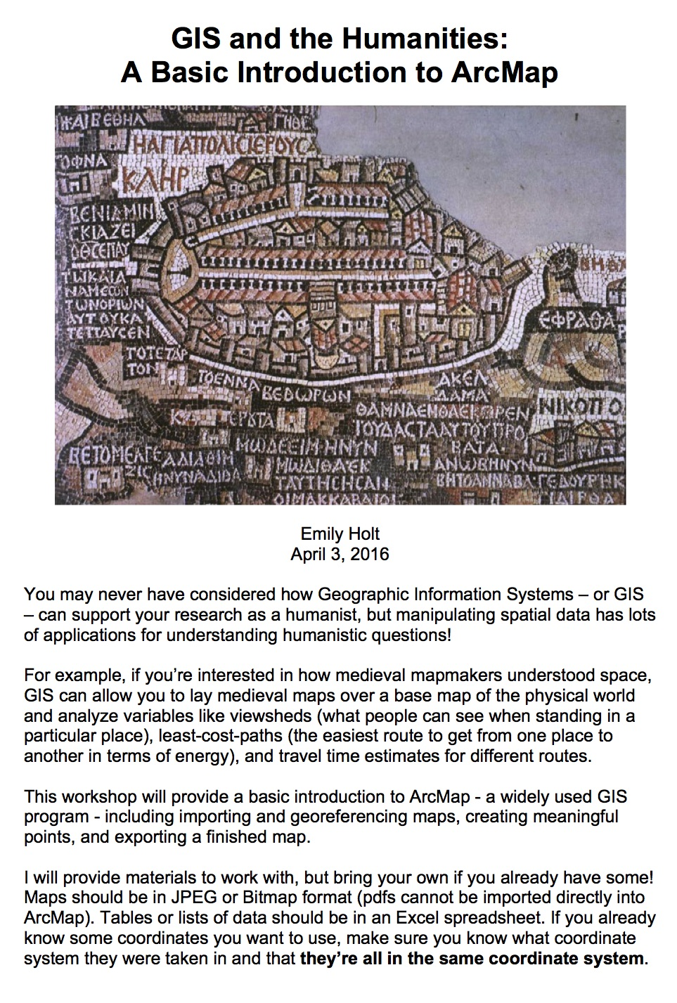 Holt GIS workshop flyer