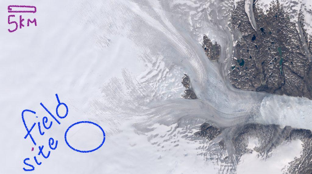 Satellite view of Helheim Glacier