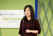 Olivia Cham speaking during Elevator Pitch