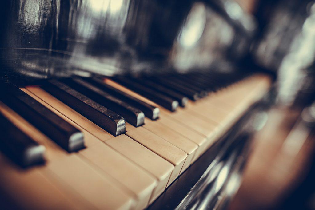 Closeup of keys on a piano keyboard