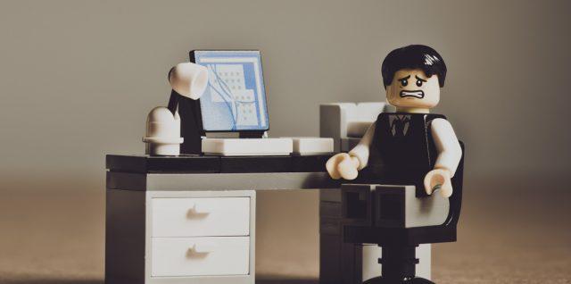 Worried Lego businessman