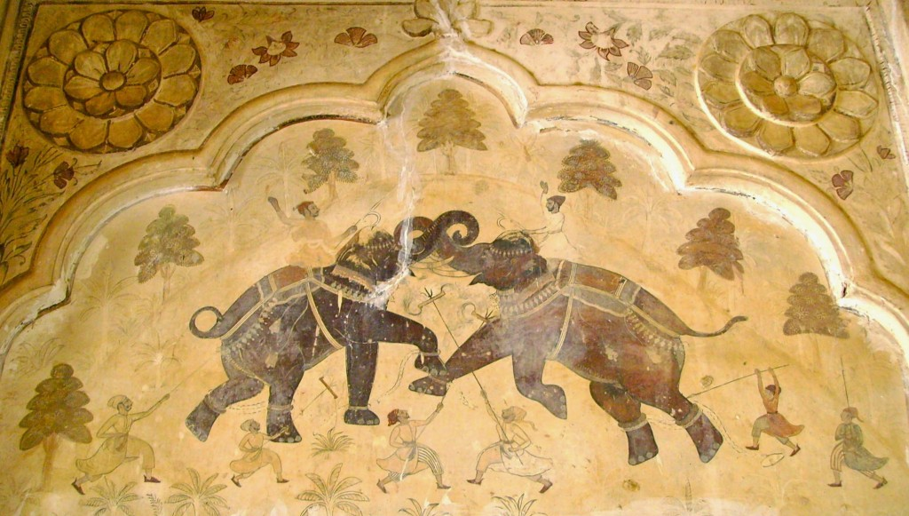 Two elephants in battle, Ahhichatragarh Fort, Nagaur