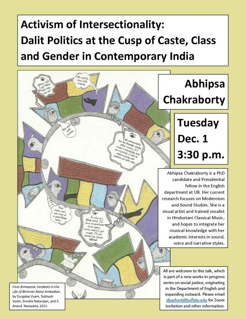 Poster announcing Chakraborty lecture December 1, 2020 at 3:30 pm